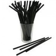 "7 3/4"" Black Giant Unwrapped Straws, 10/150 CT"