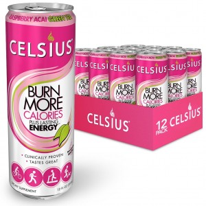 CELSIUS, GREEN TEA RASPBERRY ACAI DRINK, 12/12OZ