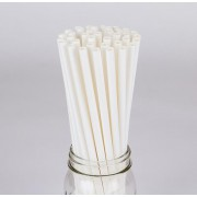 "STRAWS, PAPER GIANT 10.25"" (8mm) WHITE WRAPPED 4/300CT"